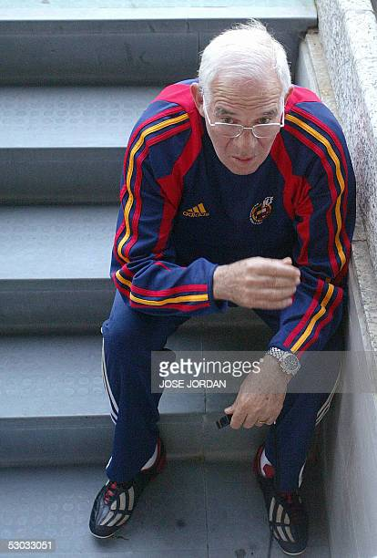 Spain's coach Luis Aragones sits during a training session of Mestalla Stadium in Valencia 07 June 2005 on the eve of their World Cup 2006 qualifier...