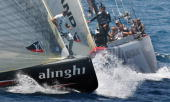 Swiss Alinghi leads Emirates Team New Zealand on the second day of racing in the 32nd America's Cup in Valencia 24 June 2007 Swiss defender Alinghi...