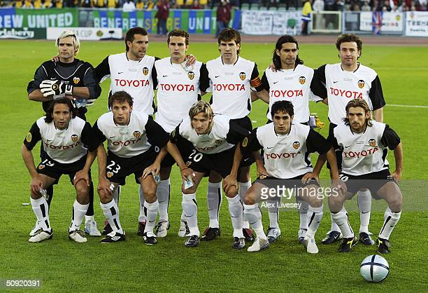 Valencia team line up prior to the UEFA Cup Final match between Valencia and Olympique de Marseille at the Ullevi Stadium on May 19 2004 in...