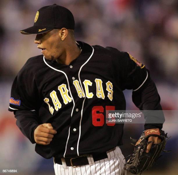 Venezuelan pitcher Jorman Bazardo of Caracas is seen during the first inning against the Dominican Republic team during the Caribbean Series baseball...