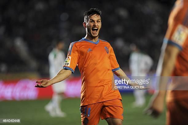 Valencia's Argentinian forward Pablo Piatti celebrates after scoring against Cordoba during the Spanish league football match Cordoba CF vs Valencia...