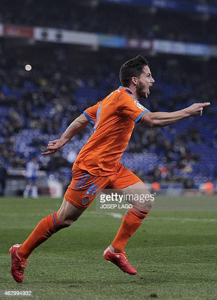 Valencia's Argentinian forward Pablo Piatti celebrates his goal during the Spanish league football match RCD Espanyol vs Valencia CF at the...