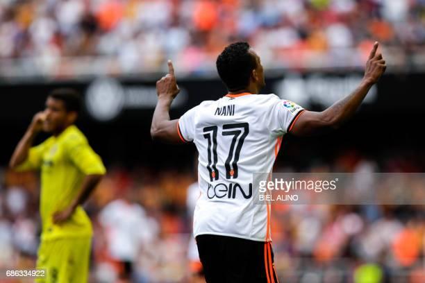 Valencia's Brazilian forward Rodrigo Moreno 'Nani' celebrates after scoring during the Spanish League football match Valencia CF vs Villarreal CF at...