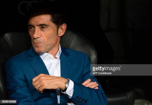 Valencia's coach Marcelino Garcia Toral looks on before the Spanish league football match Real Madrid CF vs Valencia CF at the Santiago Bernabeu...