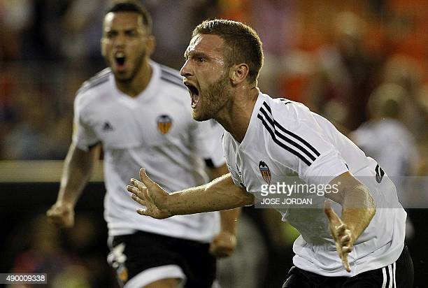 Valencia's German defender Shkodran Mustafi celebrates his goal during the Spanish league football match Valencia CF vs Granada CF at the Mestalla...