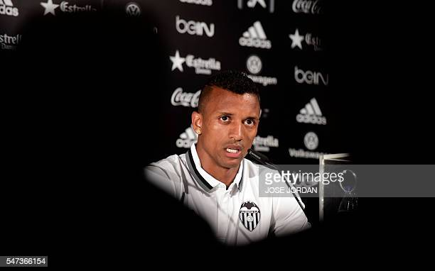 Valencia's new player Portuguese Luis Carlos Almeida de Cunha ' Nani ' speaks during his Official presentation in Valencia on July 142016 / AFP /...
