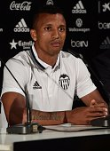 Valencia's new player Portuguese Luis Carlos Almeida de Cunha ' Nani ' speaks during his Official presentation in Valencia on July 142016 / AFP /...