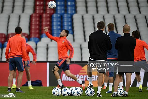 Valencia's players take part on September 28 2015 in a training session on the eve of the Champions League football match between Olympique Lyonnais...