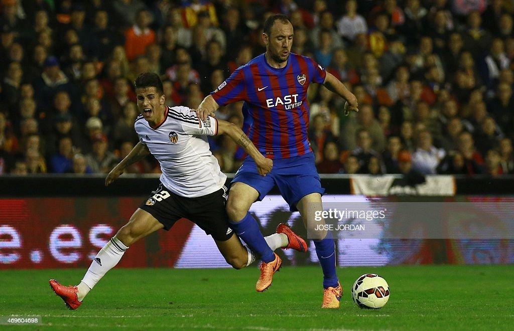 Valencia's Portuguese defender Joao Cancelo vies with Levante's defender Ivan Ramis during the Spanish league football match Valencia CF vs Levante...