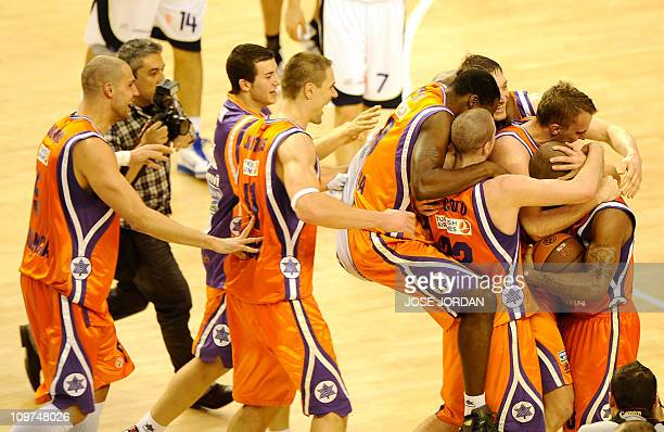 Valencia's Power Electrics celebrate after winning the match during the Euroleague basketball match Power Electrics Valencia vs Zalgiris on January...