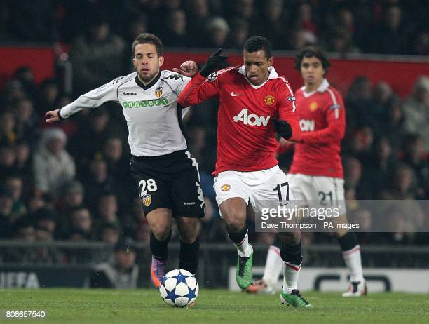 Valencia's Ramos Jordi Alba and Manchester United's Luis Nani battle for the ball