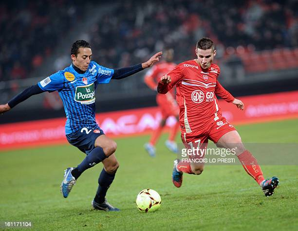 Valenciennes' defender Loris Nery vies with Brest's Moroccan midfielder Kamel Chafni during a French L1 football match at the stade du hainaut in...