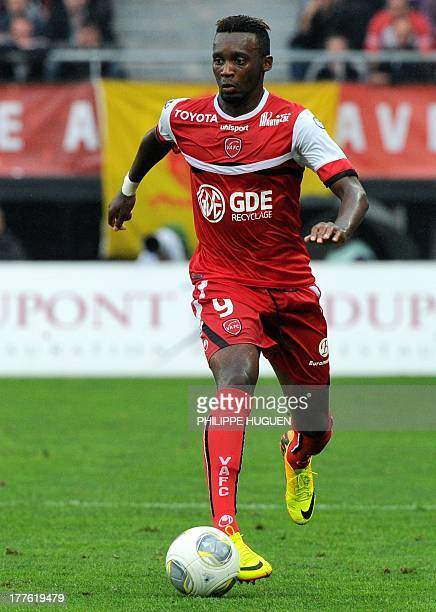 Valenciennes' French forward JeanChristophe Bahebeck controls the ball during a French L1 football match between Valenciennes and Marseille on August...