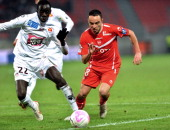 Valenciennes' Gael Danic vies with Ajaccio's Fousseni Diawara during their French L1 football match Valenciennes vs Ajaccio at Hainaut stadium in...