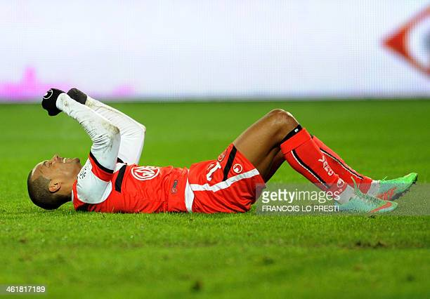 Valenciennes's Mathieu Dossevi celebrates after scoring a goal during the French L1 football match Valenciennes vs Bastia at the Stade du Hainaut in...