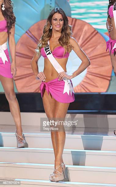 Valenetina Bonariva is seen on stage during The 63rd Annual Miss Universe Pageant at Florida International University on January 25 2015 in Miami...