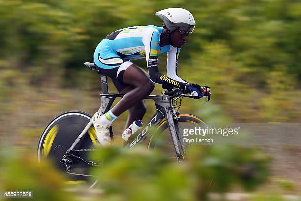 Valens Ndayisenga of Rwanda in action in the Under 23 Men's Individual Time Trial on day two of the UCI Road World Championships on September 22 2014...