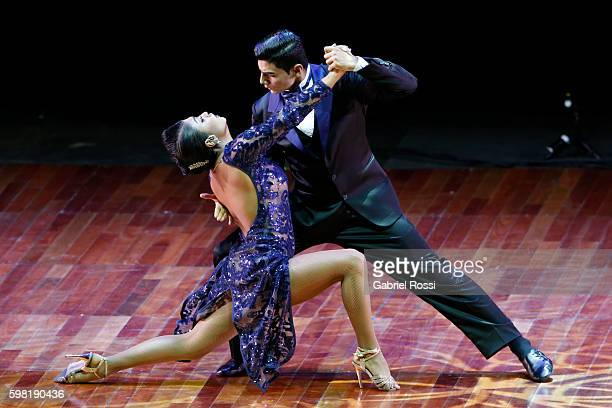 Valentin Arias Delgado and Diana Franco Durango of Colombia dance during the Stage Tango Final as part of Buenos Aires Tango Festival World...
