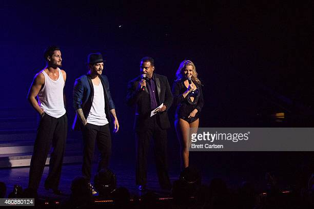 Valentin Chmerkovskiy Mark Ballas Alfonso Ribeiro and Witney Carson speak to the audience during the Dancing With The Stars Live Tour at Turning...