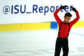Valentin Costache of Roumania skates during the junior men short dance of the ISU Junior Grand Prix at Dom Sportova on October 8 2015 in Zagreb...