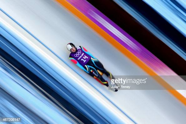 Valentin Cretu of Romania takes part in a men's luge training session ahead of the Sochi 2014 Winter Olympics at the Sanki Sliding Center on February...