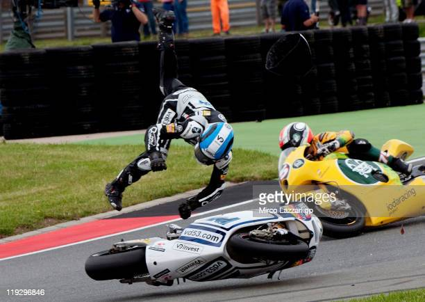 Valentin Debise of France and Speed Up crashes out during the Moto2 race of the MotoGP of Germany at Sachsenring Circuit on July 17 2011 in...