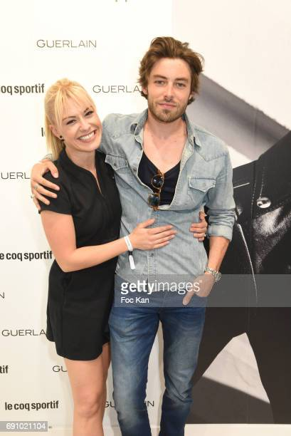 Valentin d'Hoore and Katrina Patchett attend Le Coq Sportif x Guerlain photocall at the Le Coq Sportif Flagship on May 31 2017 in Paris France
