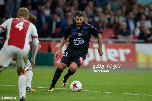 Valentin Eysseric from OSC Nice during the UEFA Champions League Qualifying Third Round Second Leg match between AJAX Amsterdam and OSC Nice at...