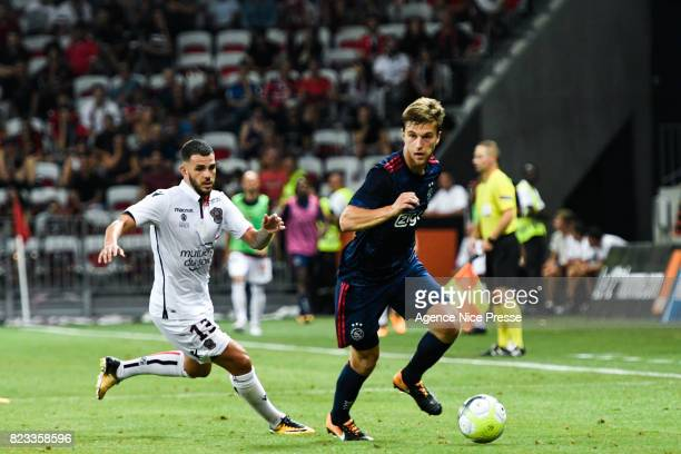 Valentin Eysseric of Nice and Joel Veltman of Ajax during the UEFA Champions League Qualifying match between Nice and Ajax Amsterdam at Allianz...