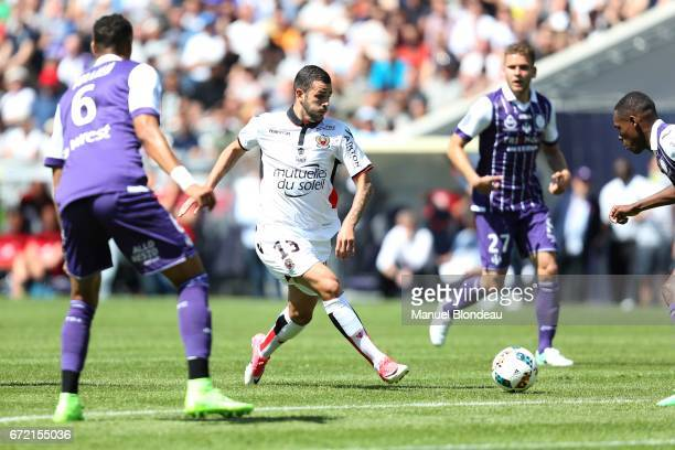 Valentin Eysseric of Nice during the Ligue 1 match between Toulouse FC and OGC Nice at Stadium Municipal on April 23 2017 in Toulouse France