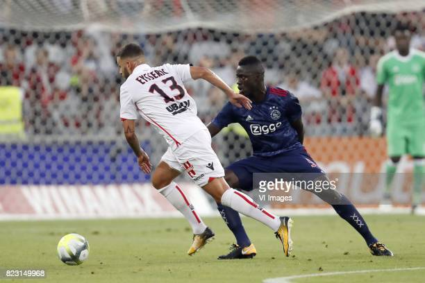 Valentin Eysseric of OCG Nice Davinson Sanchez of Ajax during the UEFA Champions League third round qualifying first leg match between OGC Nice and...
