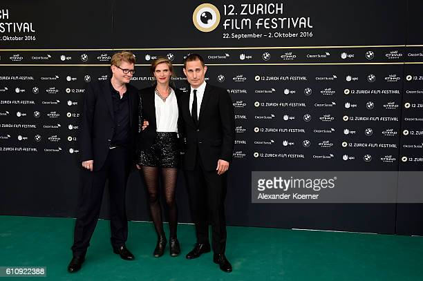 Valentin Hitz Lena Lauzemis and Clemens Schick attend the 'Stille Reserven' Photocall during the 12th Zurich Film Festival on September 28 2016 in...