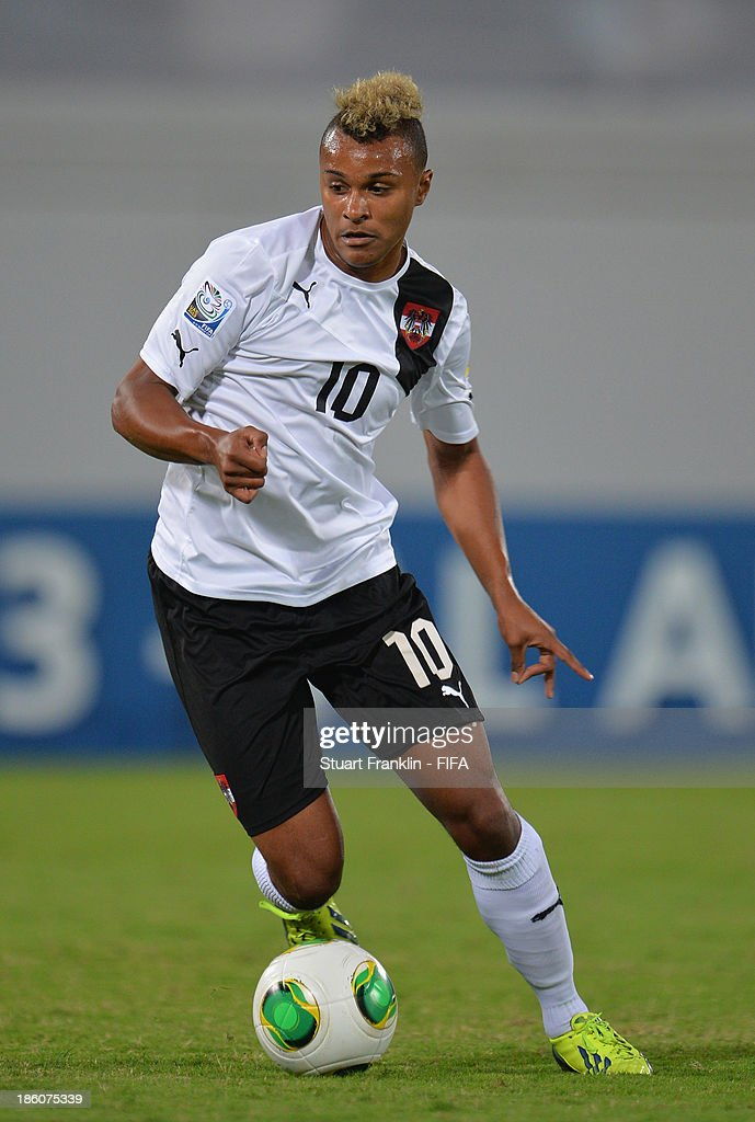 Valentin Lazaro of Austria in action during the FIFA U 17 World Cup group E match between Austria and Iran at Khalifa Bin Zayed Stadium on October 25, 2013 in Al Ain, United Arab Emirates.
