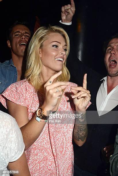 Valentin Lucas and Caroline Receveur attend 'Un Look D'Enfer' Sebastien Patoche Show Case Party at the Theatre du Renard on July 1 2014 in Paris...