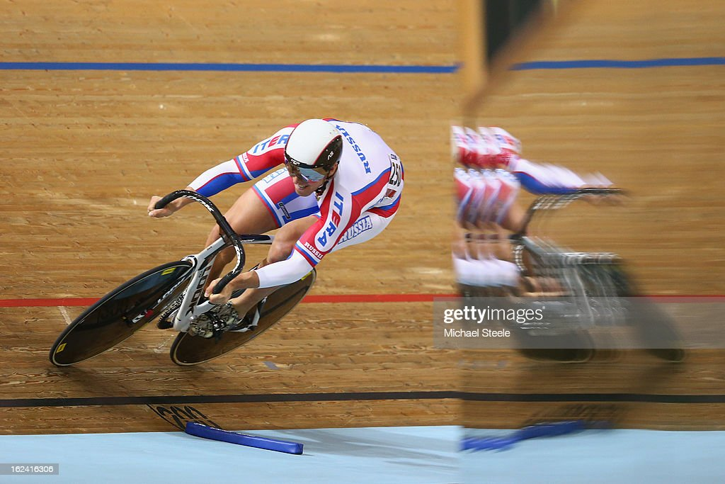Valentin Savitskiy of Russia during qualification in the men's sprint on day four of the UCI Track World Championships at Minsk Arena on February 23, 2013 in Minsk, Belarus.