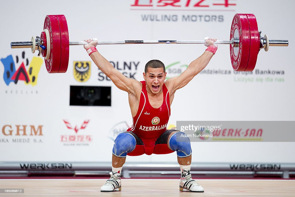 Valentin Snezhev Hristov from Azerbaijan lifts in Snatch competition men's 62 kg Group A during the IWF World Weightlifting Championships at Centennial Hall on October 22, 2013 in Wroclaw, Poland.
