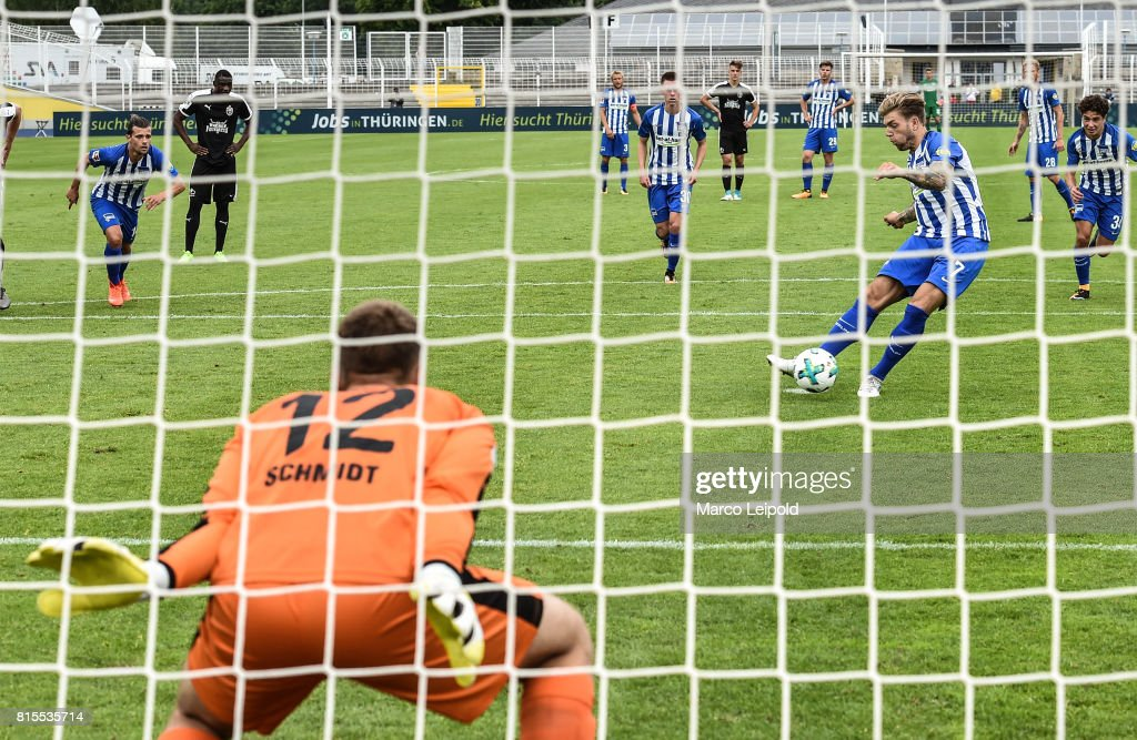 Valentin Stocker, Alexander Esswein and Maurice Covic of Hertha BSC during the test match between Carl-Zeiss Jena and Hertha BSC on july 16, 2017 in Jena, Germany.