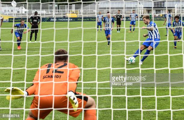 Valentin Stocker Alexander Esswein and Maurice Covic of Hertha BSC during the test match between CarlZeiss Jena and Hertha BSC on july 16 2017 in...