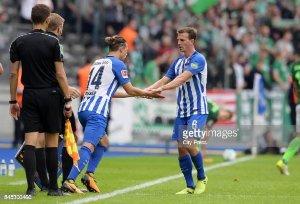 Valentin Stocker and Vladimir Darida of Hertha BSC during the game between Hertha BSC and Werder Bremen on September 10 2017 in Berlin Germany