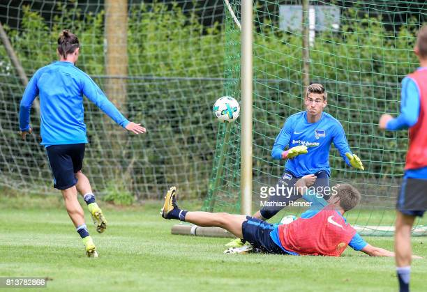 Valentin Stocker Jonathan Klinsmann and Genki Haraguchi during the sixth day of the training camp of Hertha BSC on july 13 2017 in Bad Saarow Germany
