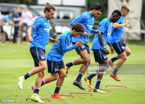 Valentin Stocker Maurice Covic Karim Rekik Jordan Torunarigha and Sinan Kurt during the first day of the training camp of Hertha BSC on July 8 2017...