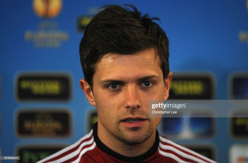 Valentin Stocker of Basel attends a press conference, on the eve of the UEFA Europa - valentin-stocker-of-basel-attends-a-press-conference-on-the-eve-of-picture-id167848444