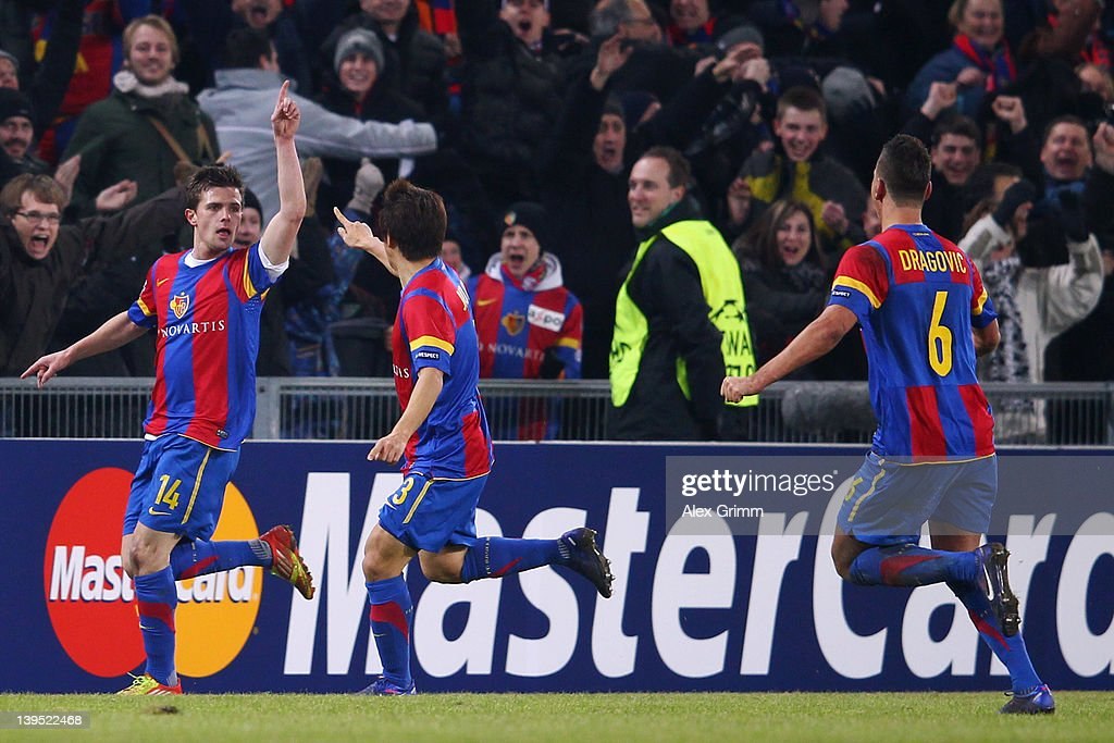 <a gi-track='captionPersonalityLinkClicked' href=/galleries/search?phrase=Valentin+Stocker&family=editorial&specificpeople=5522265 ng-click='$event.stopPropagation()'>Valentin Stocker</a> of Basel celebrates his team's first goal with team mates Park Joo Ho and Aleksandar Dragovic (L-R) during the UEFA Champions League Round of 16 first leg match between FC Basel 1893 and FC Bayern Muenchen at St. Jakob-Park on February 22, 2012 in Basel, Switzerland.