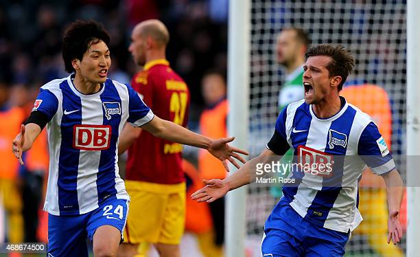 Valentin Stocker of Berlin celebrates after he scores his team's opening goal during the Bundesliga match between Hertha BSC and SC Paderborn 07 at...