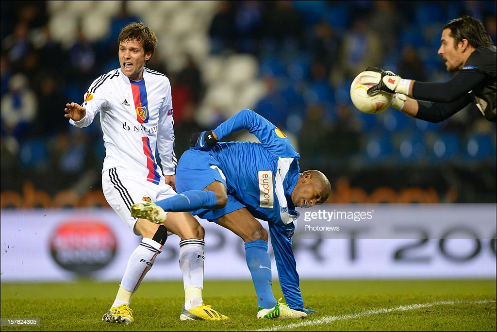<a gi-track='captionPersonalityLinkClicked' href=/galleries/search?phrase=Valentin+Stocker&family=editorial&specificpeople=5522265 ng-click='$event.stopPropagation()'>Valentin Stocker</a> (L) of FC Basel 1893 in action with Ngcongca Anele of KRC Genk during the UEFA Europa League group G match between KRC Genk and FC Basel 1893 at the Cristal Arena stadium on December 06, 2012 in Genk, Belgium.