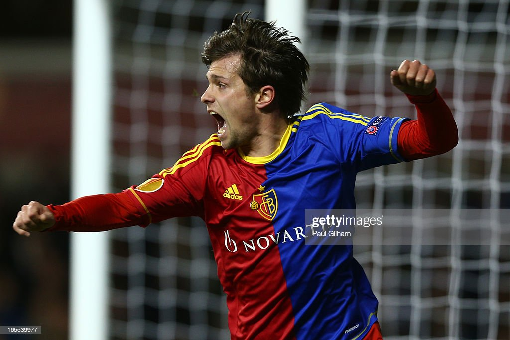 Valentin Stocker of FC Basel celebrates scoring their first goal during the UEFA Europa League quarter-final first leg between Tottenham Hotspur FC and FC Basel 1893 at White Hart Lane on April 4, 2013 in London, England.