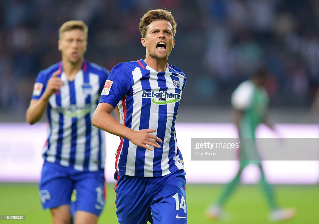 <a gi-track='captionPersonalityLinkClicked' href=/galleries/search?phrase=Valentin+Stocker&family=editorial&specificpeople=5522265 ng-click='$event.stopPropagation()'>Valentin Stocker</a> of Hertha BSC celebrates after scoring the 1:0 during the game between Hertha BSC and Werder Bremen on August 21, 2015 in Berlin, Germany.