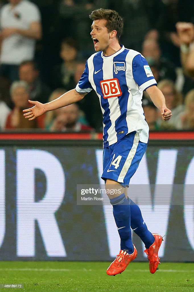 <a gi-track='captionPersonalityLinkClicked' href=/galleries/search?phrase=Valentin+Stocker&family=editorial&specificpeople=5522265 ng-click='$event.stopPropagation()'>Valentin Stocker</a> of Hertha BSC celebrates as he scores their first goal during the Bundesliga match between Hannover 96 and Hertha BSC at HDI-Arena on April 10, 2015 in Hanover, Germany.
