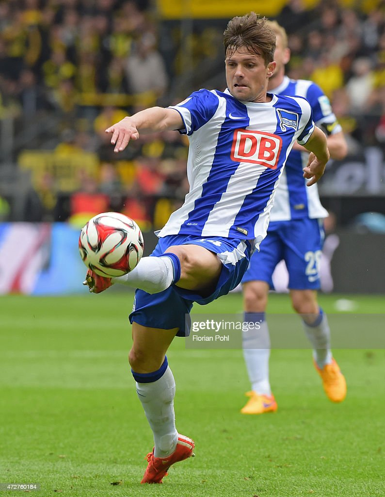 <a gi-track='captionPersonalityLinkClicked' href=/galleries/search?phrase=Valentin+Stocker&family=editorial&specificpeople=5522265 ng-click='$event.stopPropagation()'>Valentin Stocker</a> of Hertha BSC handles the ball during the game between Borussia Dortmund and Hertha BSC on May 9, 2015 in Dortmund, Germany.
