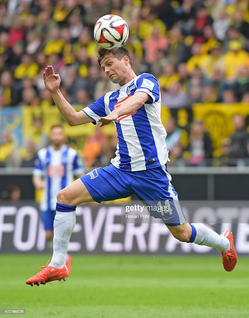 <a gi-track='captionPersonalityLinkClicked' href=/galleries/search?phrase=Valentin+Stocker&family=editorial&specificpeople=5522265 ng-click='$event.stopPropagation()'>Valentin Stocker</a> of Hertha BSC heads the ball during the game between Borussia Dortmund and Hertha BSC on May 9, 2015 in Dortmund, Germany.